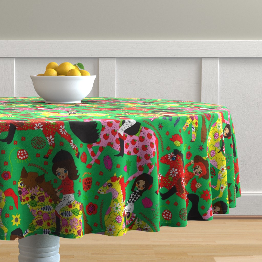 Malay Round Tablecloth featuring Julep Derby by orangefancy
