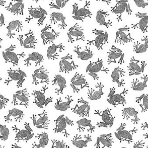 small frogs - black and white