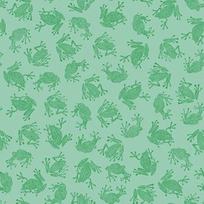 plague of small frogs - green on mint