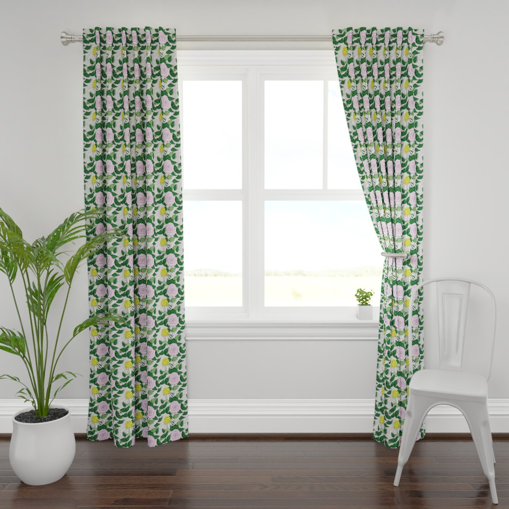 Plymouth Curtain Panel featuring Stop and Smell the Roses by ashandannstudio