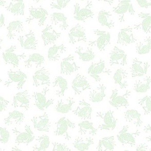 small frog princes - pale green on white