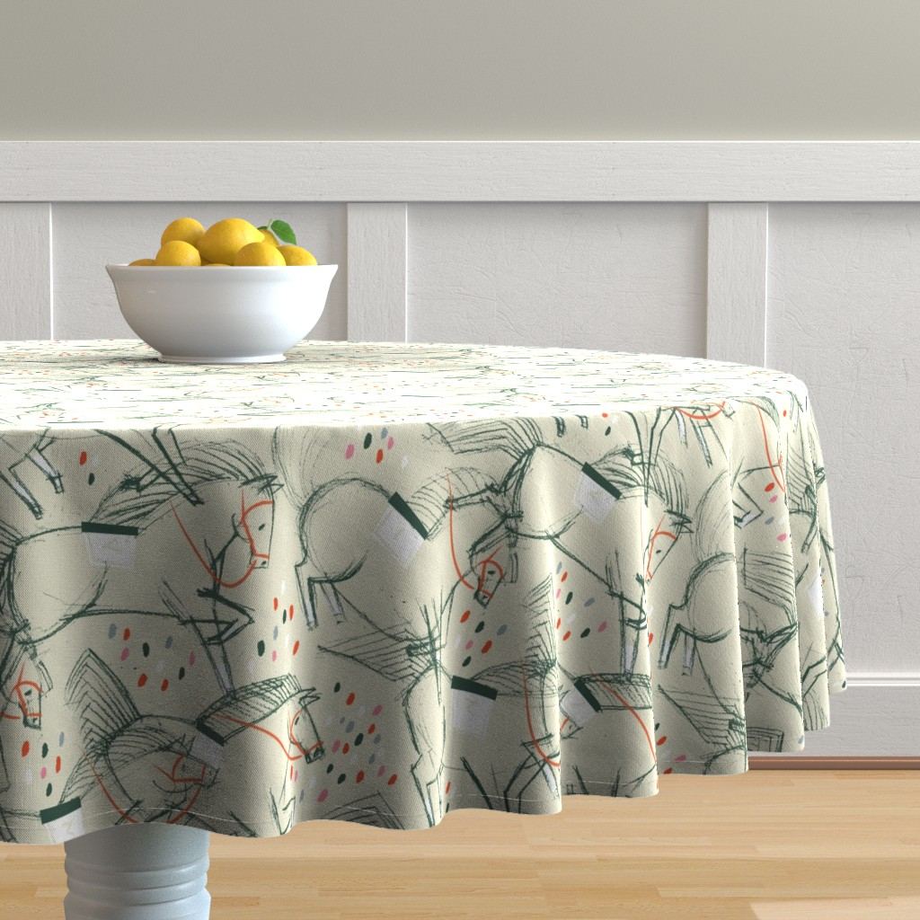 Malay Round Tablecloth featuring On the Loose! M+M Tan by Friztin by friztin