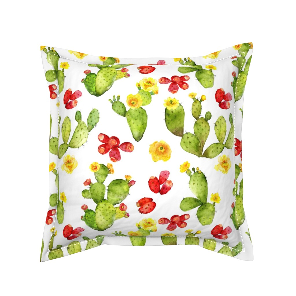Serama Throw Pillow featuring Bright Cacti - Large Print - Desert Cactus - Prickly Pear by dixiemoon