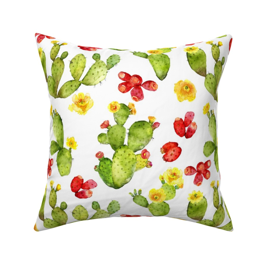 Catalan Throw Pillow featuring Bright Cacti - Large Print - Desert Cactus - Prickly Pear by dixiemoon