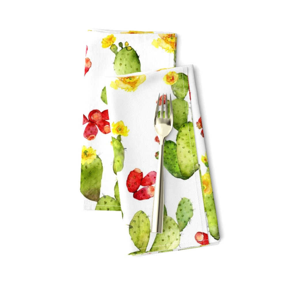 Amarela Dinner Napkins featuring Bright Cacti - Large Print - Desert Cactus - Prickly Pear by dixiemoon