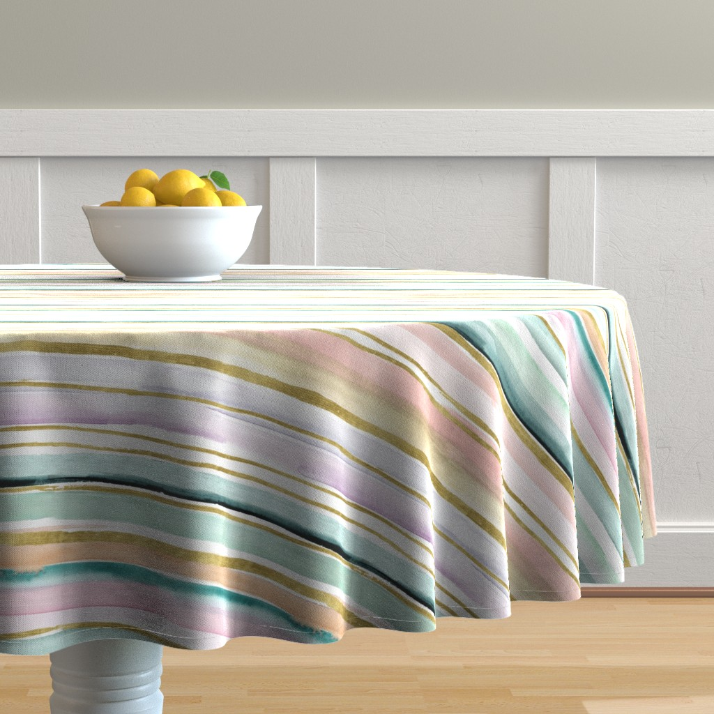 Malay Round Tablecloth featuring Daydream Stripe by crystal_walen