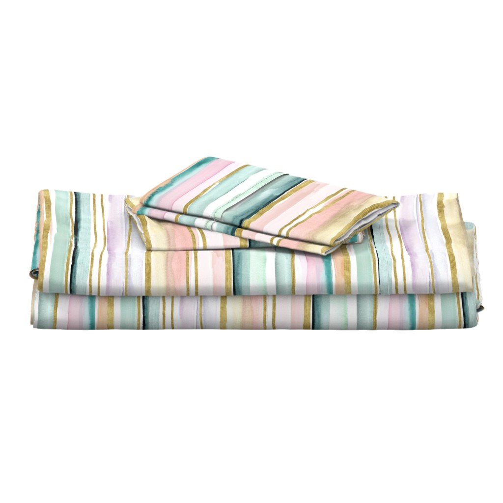 Langshan Full Bed Set featuring Daydream Stripe by crystal_walen