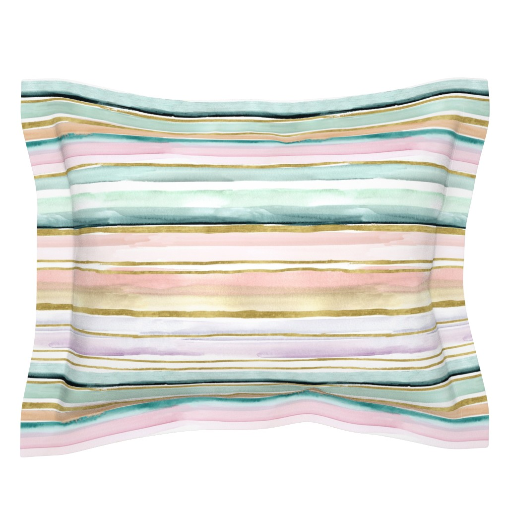 Sebright Pillow Sham featuring Daydream Stripe by crystal_walen
