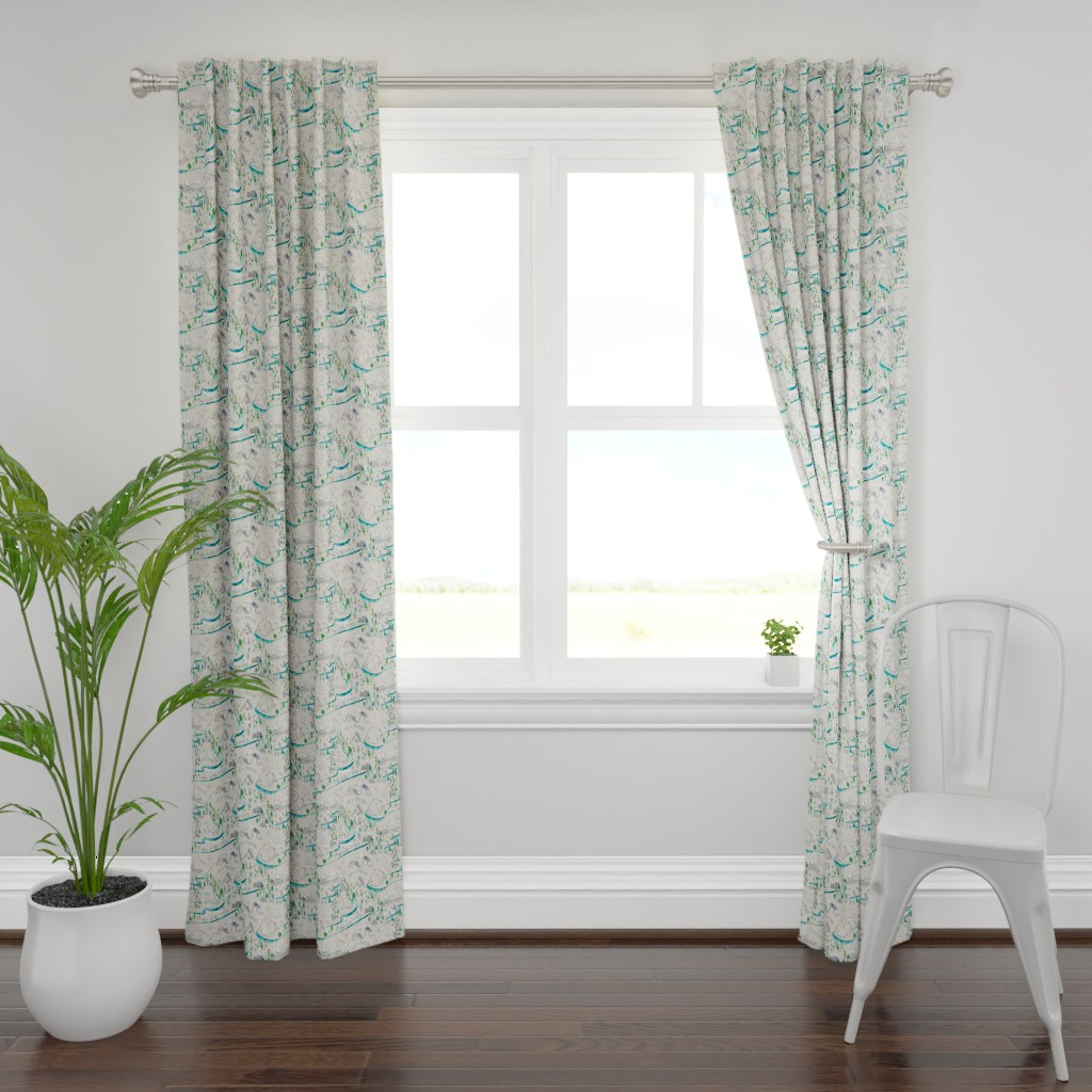Plymouth Curtain Panel featuring Let's Go Adventuring (cream) MED by nouveau_bohemian