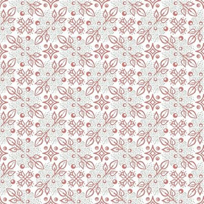 Folk  floral medium pink green dots