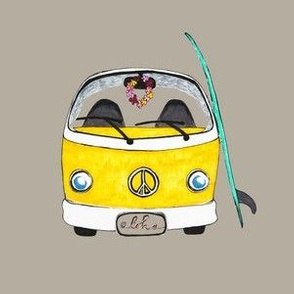 Beach Bus Yellow on Grey
