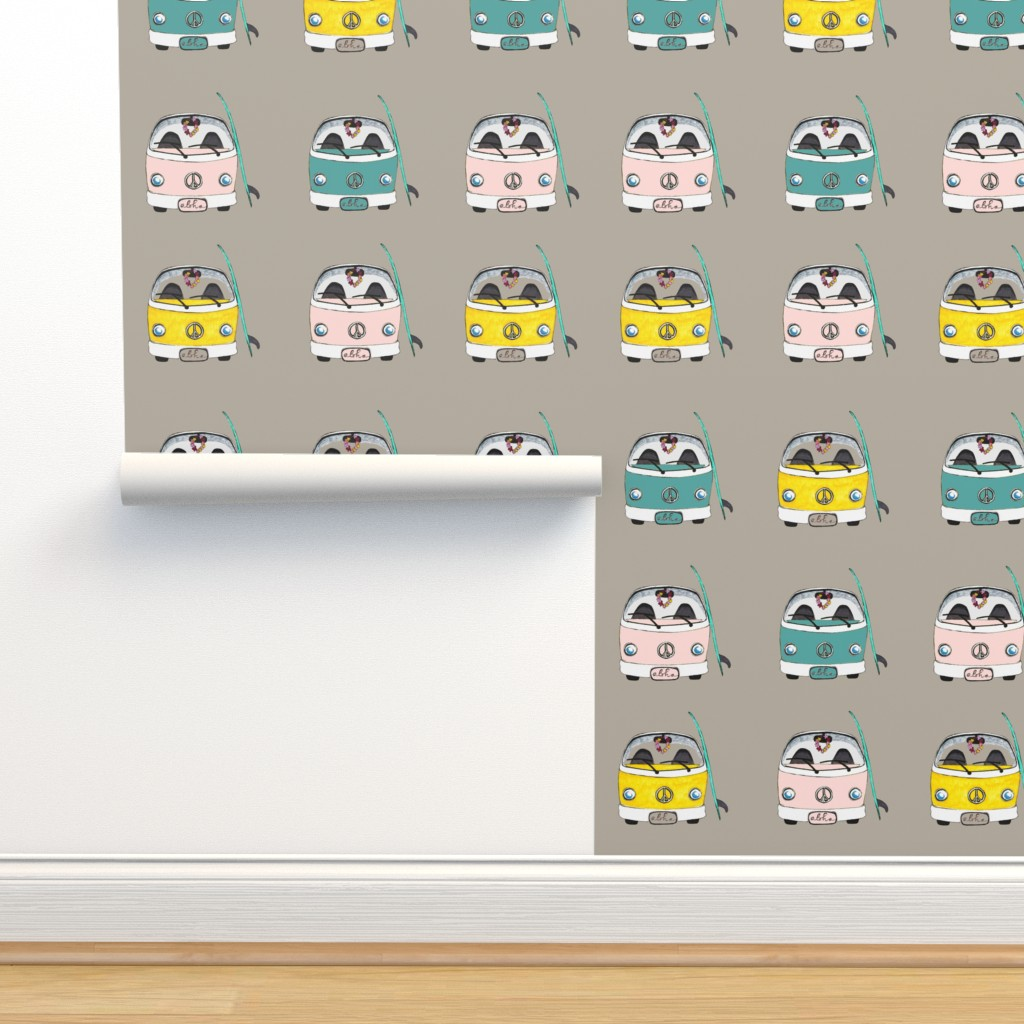 Isobar Durable Wallpaper featuring Beach Bus multi color by hunnellekari