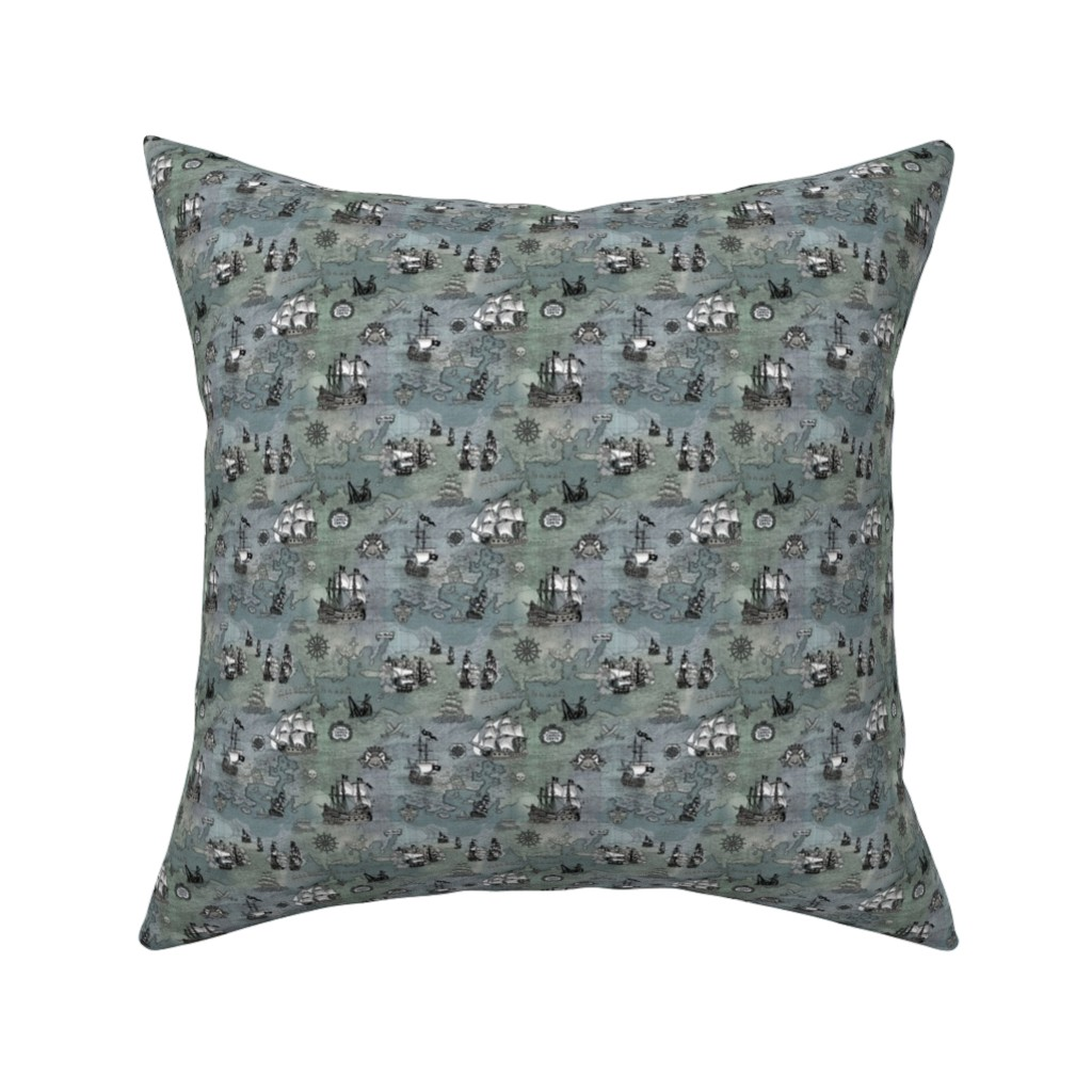 Catalan Throw Pillow featuring Pirate Ships Map Grey Smallest by teja_jamilla