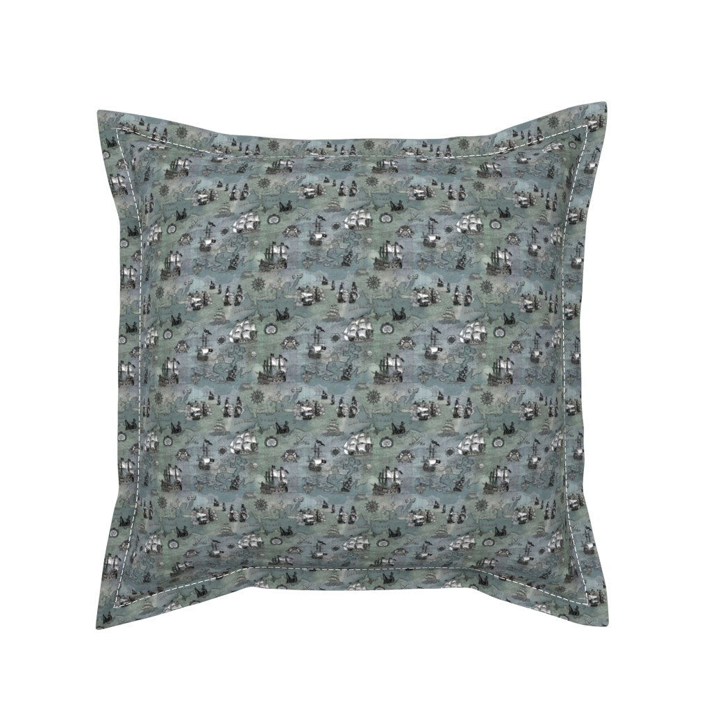 Serama Throw Pillow featuring Pirate Ships Map Grey Smallest by teja_jamilla