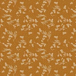 Jungle Flora Feather Rust Linen