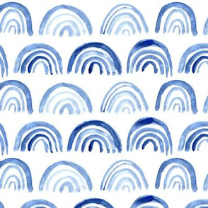 Watercolor blue arch shapes pattern