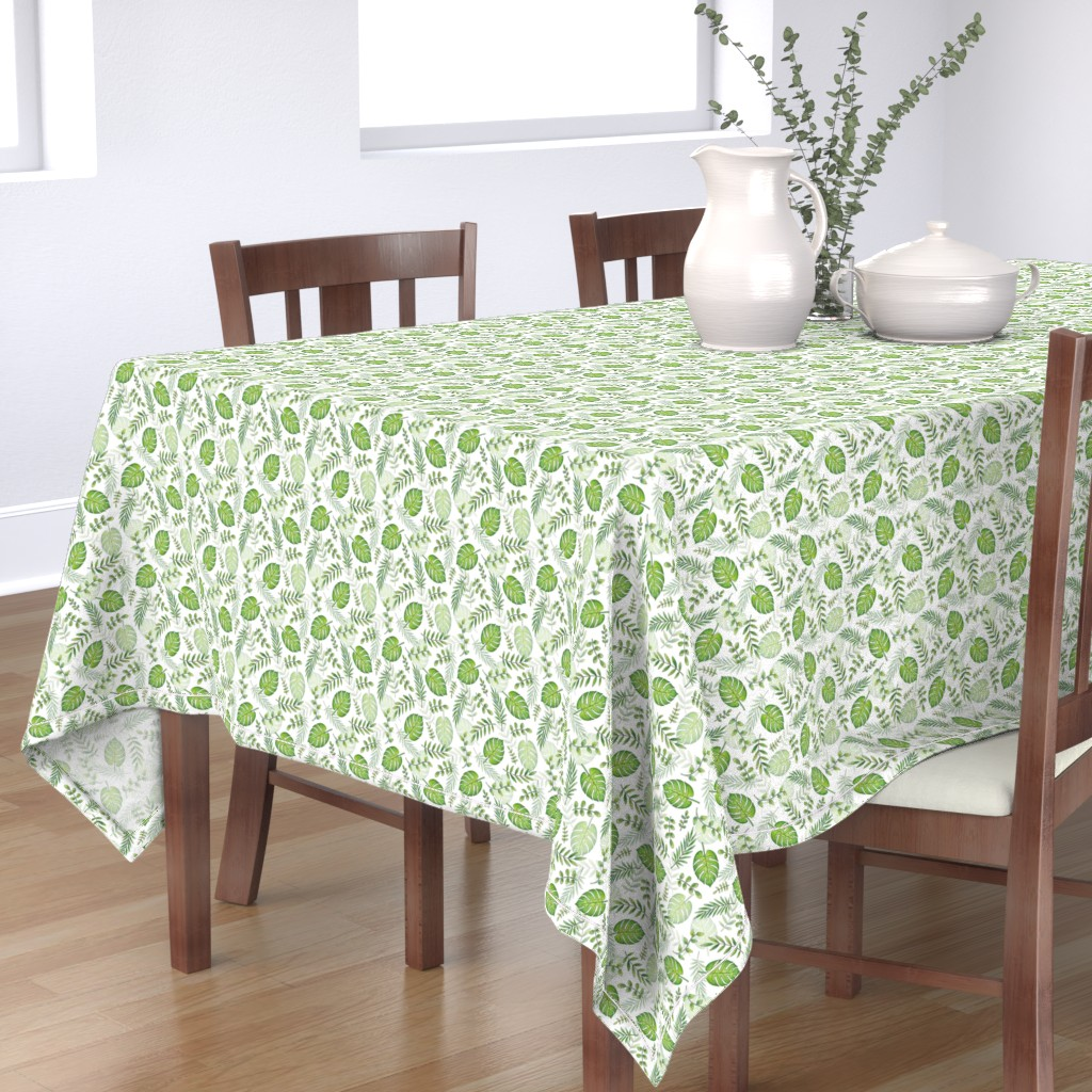 Bantam Rectangular Tablecloth featuring Monstera Leafy pattern Green on White by hazelfishercreations