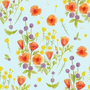 wildflowers watercolor on aqua / nursery baby kids floral design