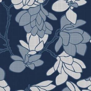 Magnolia Story Branches_Indigo Linen