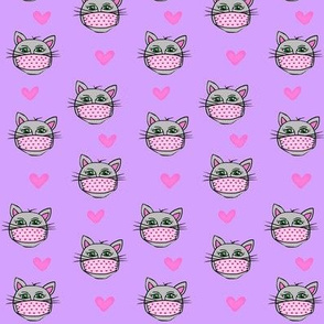 Let's Purr-tect Each Other! Kitty w/ Mask Lavender small