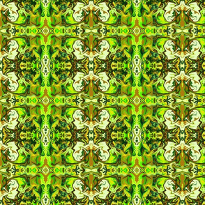 BN5 - SM - Abstract Marbled Mystery Tapestry in Forest Green - Lime - Olive - Brown - Yellow