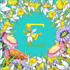 LETTER E MONOGRAM DAFFODILS WATERCOLOR FLOWERS TURQUOISE