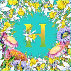 LETTER H MONOGRAM DAFFODILS WATERCOLOR FLOWERS TURQUOISE