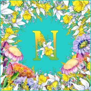 LETTER N MONOGRAM DAFFODILS WATERCOLOR FLOWERS TURQUOISE