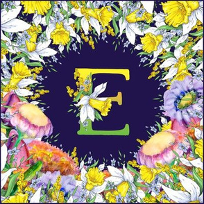 LETTER E MONOGRAM DAFFODILS WATERCOLOR FLOWERS DEEP BLUE