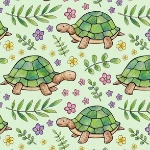 Tortoises and Flowers on Pale Green