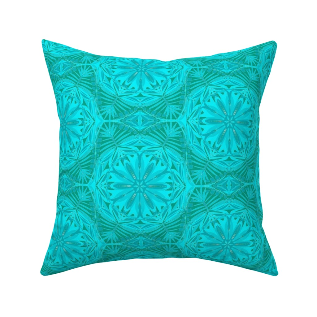 Catalan Throw Pillow featuring Pearly Aqua Lace on Turquoise - Extra Large Scale by rhondadesigns