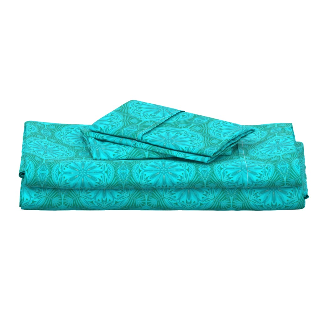 Langshan Full Bed Set featuring Pearly Aqua Lace on Turquoise - Extra Large Scale by rhondadesigns