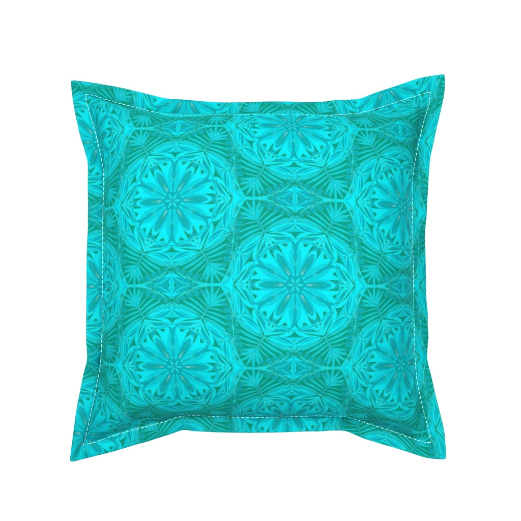 Serama Throw Pillow featuring Pearly Aqua Lace on Turquoise - Extra Large Scale by rhondadesigns