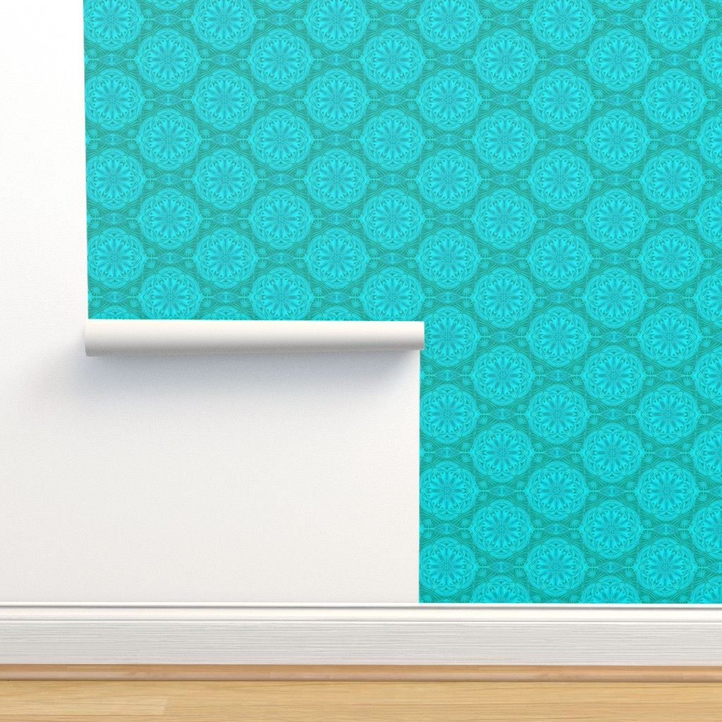 Isobar Durable Wallpaper featuring Pearly Aqua Lace on Turquoise - Extra Large Scale by rhondadesigns
