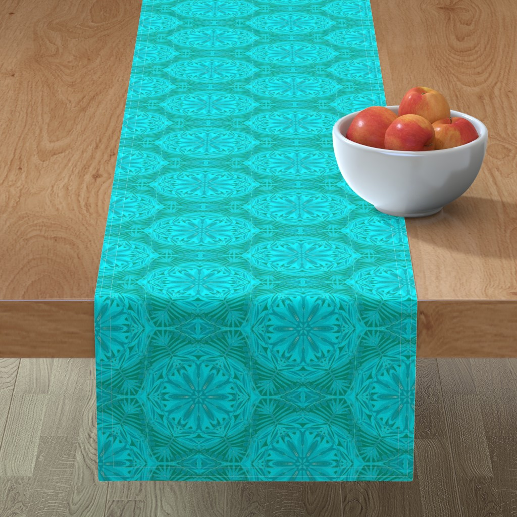 Minorca Table Runner featuring Pearly Aqua Lace on Turquoise - Extra Large Scale by rhondadesigns