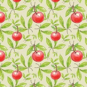 Green Leaves with Red Apples and Cherries, Farmhouse Style, Apple Tree, Orchard Fruit