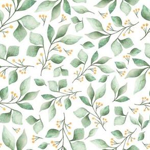 Woodland Foliage Green and White, Nursery Decor, Children decor, foliage, leaves