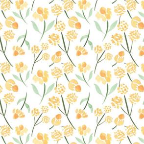 Watercolor Meadow Flowers, Yellow Flowers, Watercolor Floral Pattern