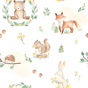 LARGE - Forest Friends White, Woodland Friends, Forest Animals
