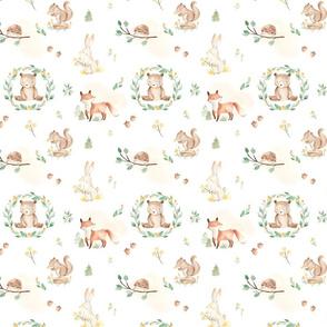 Forest Friends White, Woodland Friends, Forest Animals