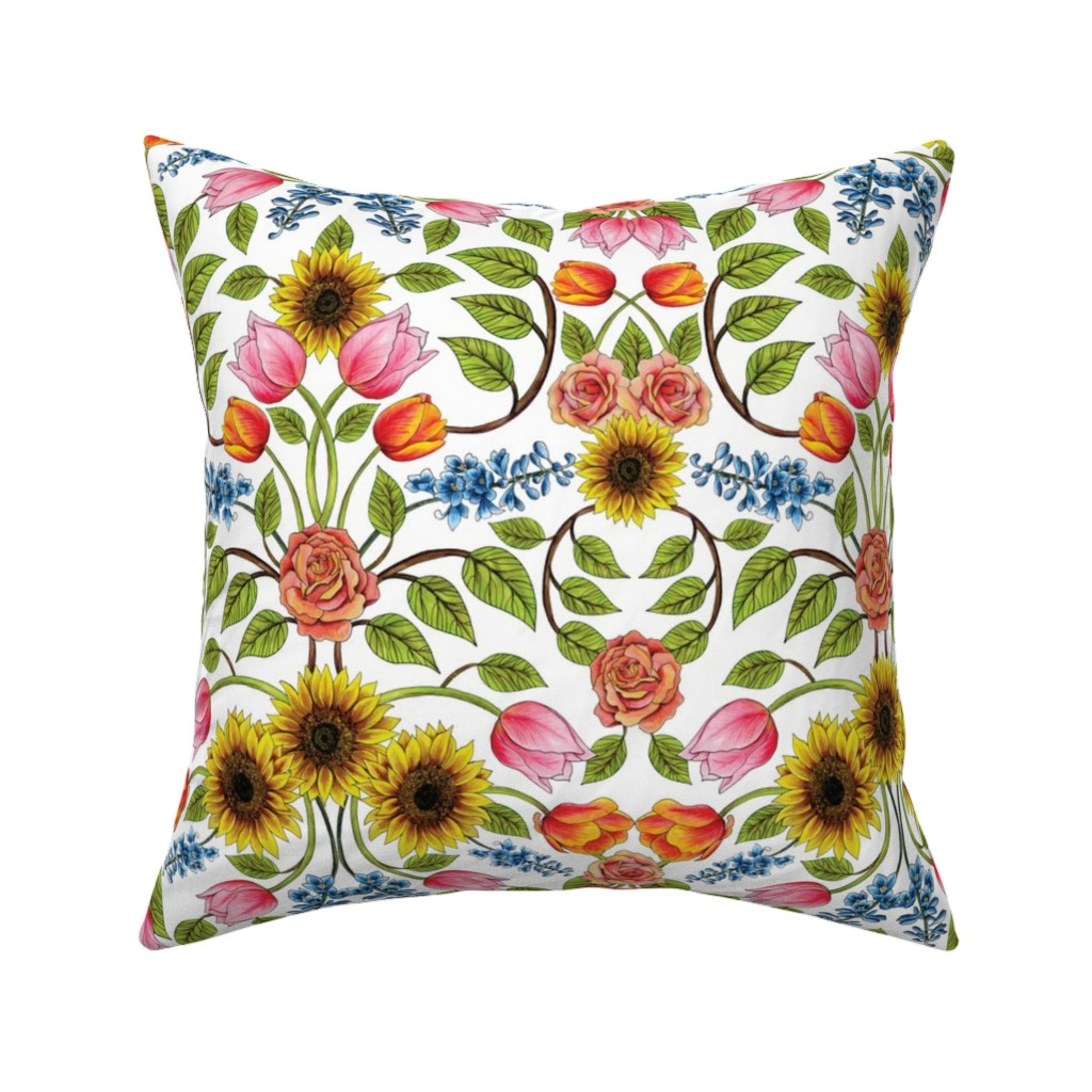 Catalan Throw Pillow featuring Spring Flowers Pattern - Sunflowers, Tulips, Roses & Delphinium by somecallmebeth