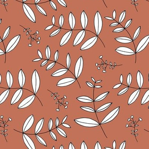 Large leaves and cotton branch botanical garden print autumn copper brown XL Jumbo