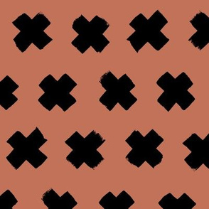 Black and copper brown autumn cross and abstract plus sign geometric grunge brush strokes scandinavian style print