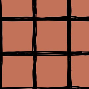 Abstract geometric black and copper autumn checkered stripe trend pattern grid
