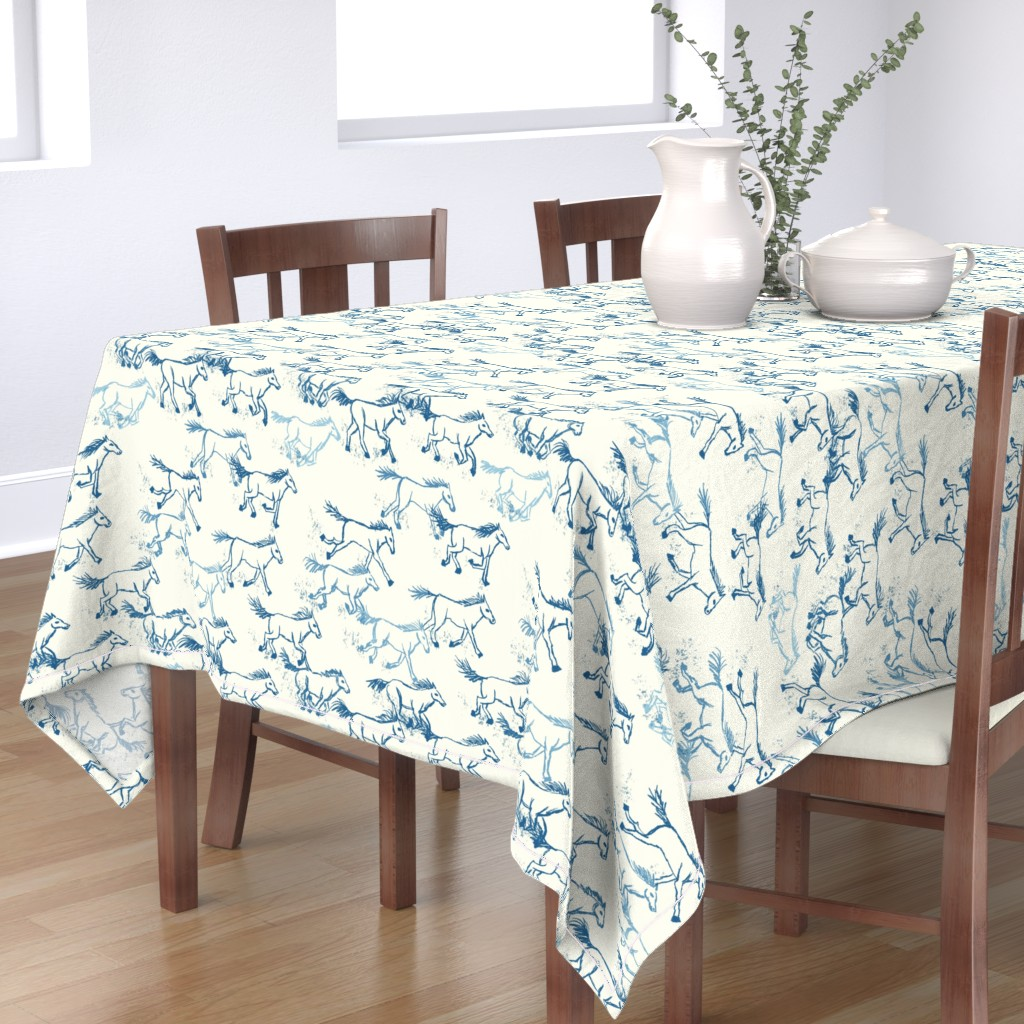 Bantam Rectangular Tablecloth featuring wild and free teal on ivory by designed_by_debby