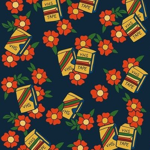 VHS tapes retro floral