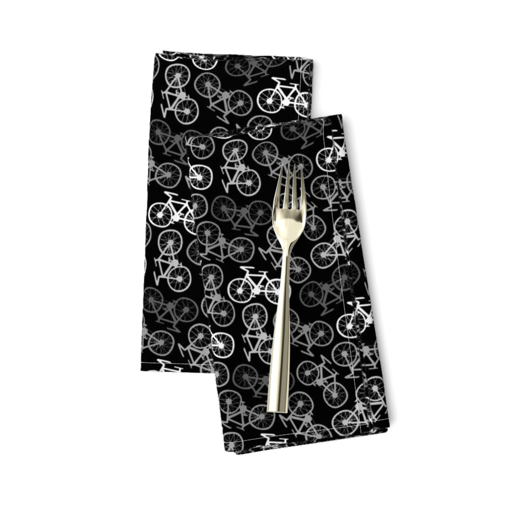 Amarela Dinner Napkins featuring Cycling in Monochrome by thewellingtonboot