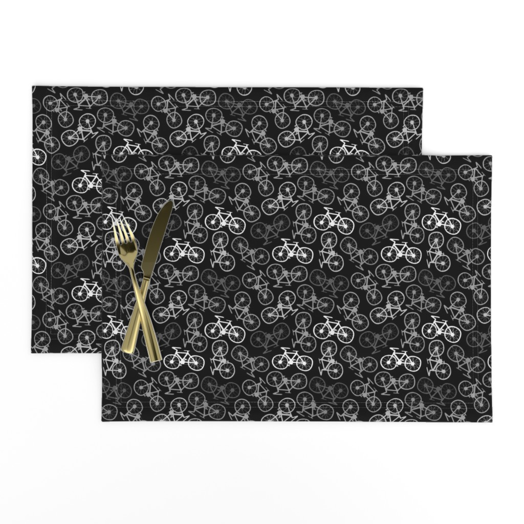 Lamona Cloth Placemats featuring Cycling in Monochrome by thewellingtonboot