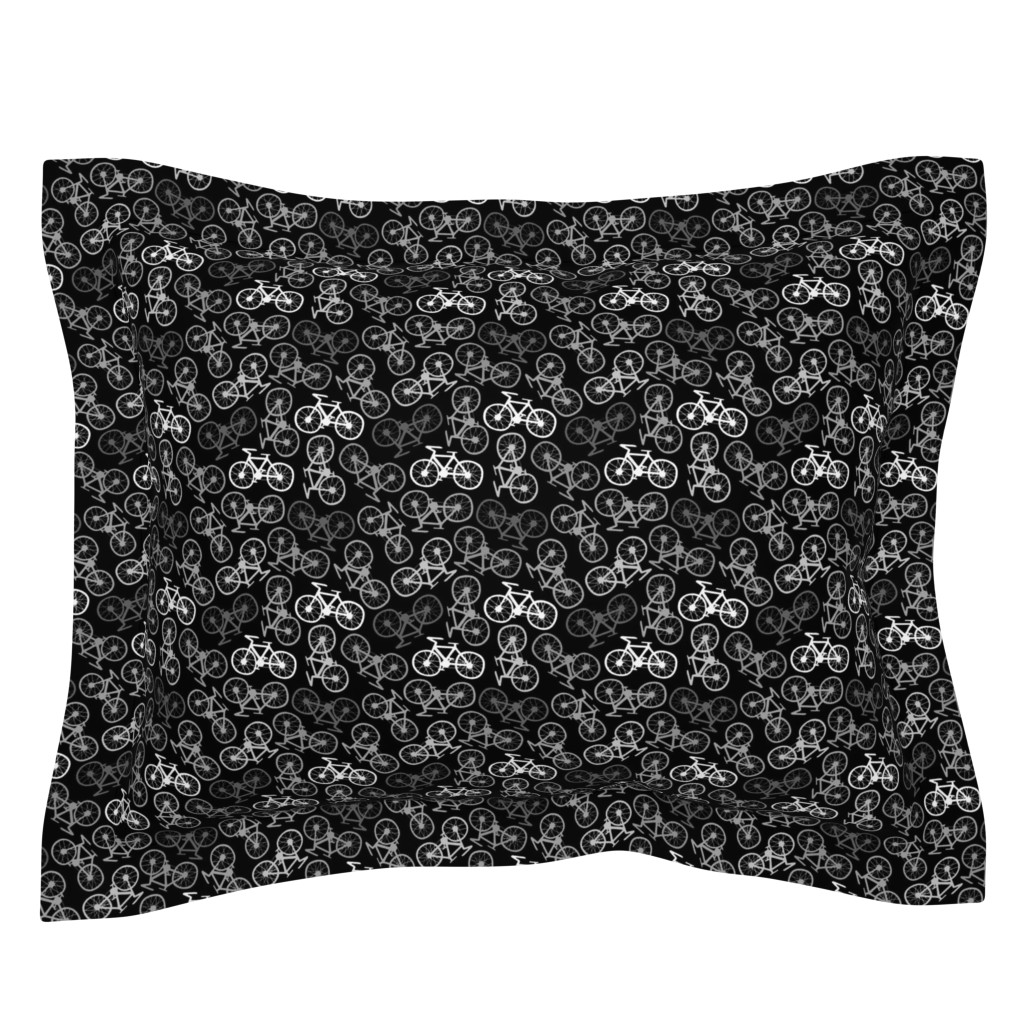 Sebright Pillow Sham featuring Cycling in Monochrome by thewellingtonboot