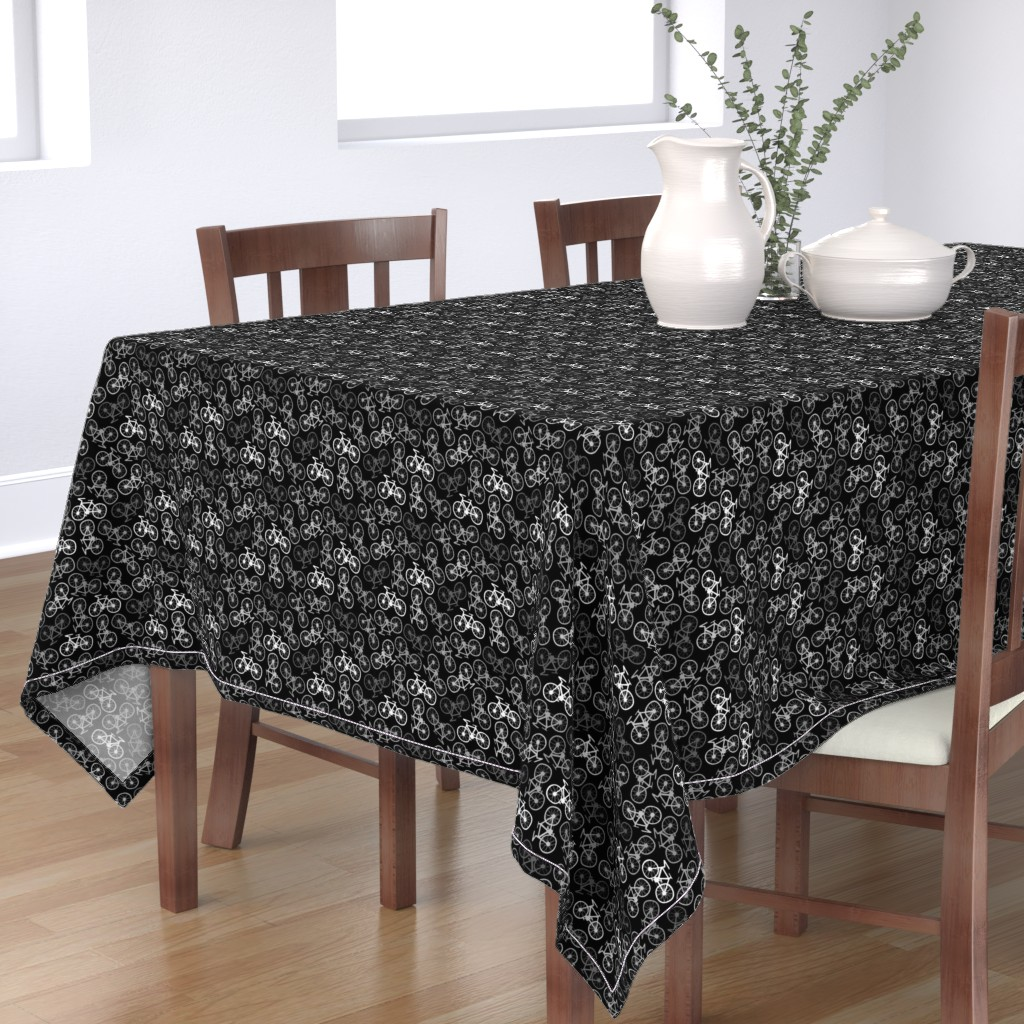 Bantam Rectangular Tablecloth featuring Cycling in Monochrome by thewellingtonboot